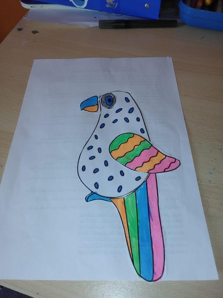 oiseau gabriel: colorier, découper et assembler pour créer